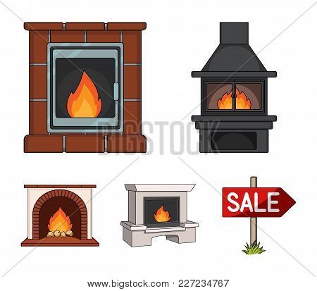 Fire, Warmth And Comfort. Fireplace Set Collection Icons In Cartoon Style Vector Symbol Stock Illust