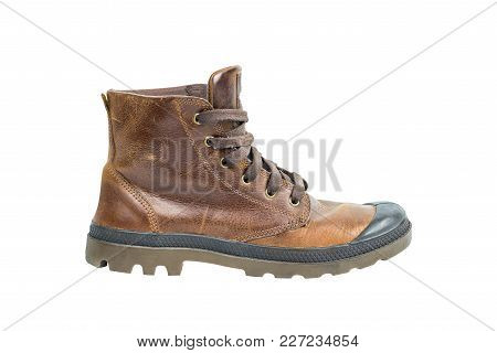 Brown Leather Boot Footwear Isolated On White Background