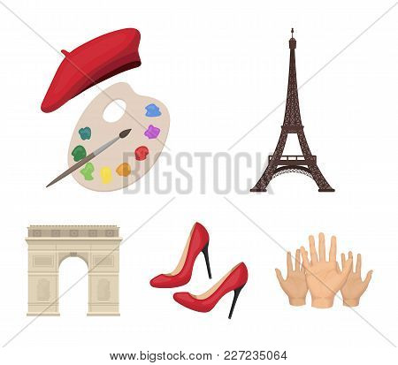 Eiffel Tower, Brush, Hat .france Country Set Collection Icons In Cartoon Style Vector Symbol Stock I