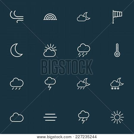 Weather Icons Line Style Set With Arc, Nigth, Wind And Other Cloud Sky Elements. Isolated  Illustrat