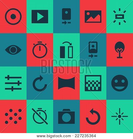 Photo Icons Set With Flip, Tune, Remove Red Eye And Other Photo Apparatus Elements. Isolated  Illust