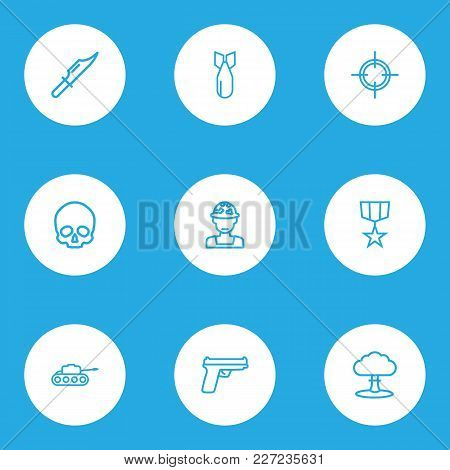 Battle Icons Line Style Set With Gun, Medal, Sniper And Other Panzer  Elements. Isolated  Illustrati