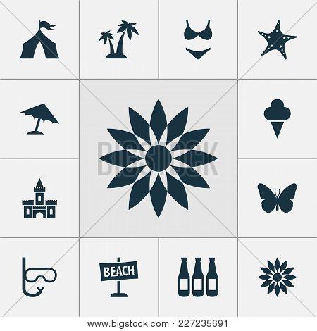 Season Icons Set With Sand Castle, Starfish, Palms Sea Star Elements. Isolated  Illustration Season