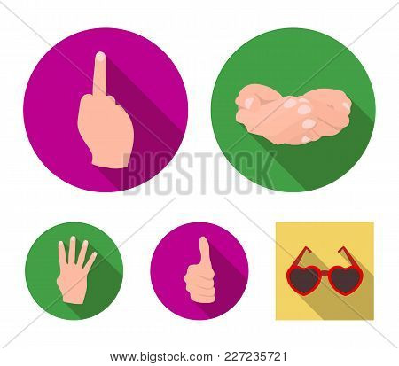 Palms Together, Big Up, Nameless. Hand Gestures Set Collection Icons In Flat Style Vector Symbol Sto