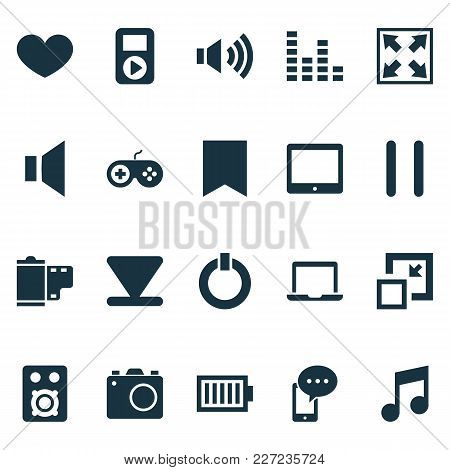 Multimedia Icons Set With Laptop, Mute, Start And Other Stop Elements. Isolated  Illustration Multim