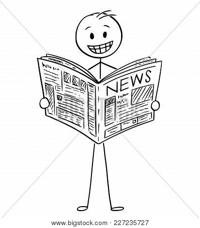 Cartoon Stick Man Drawing Conceptual Illustration Of Smiling Happy Businessman Reading Good News In