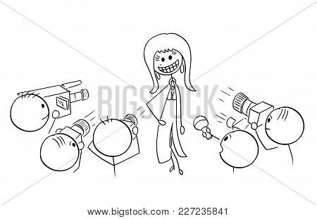 Cartoon Stick Man Drawing Illustration Of Sexy Female Star Celebrity With Large Crazy Artificial Smi
