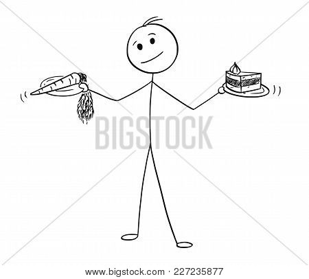 Cartoon Stick Man Drawing Conceptual Illustration Of Man With Healthy Vegetable Carrot And Unhealthy