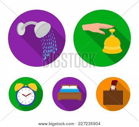 Call At The Reception, Alarm Clock, Bed, Shower.hotel Set Collection Icons In Flat Style Vector Symb