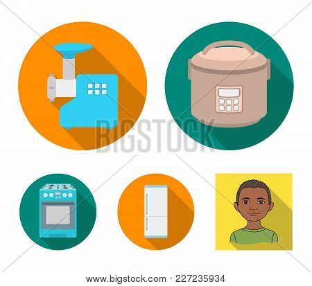 Multivarka, Refrigerator, Meat Grinder, Gas Stove.household Set Collection Icons In Flat Style Vecto