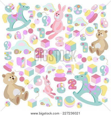 Childrens Toys Pastel Cartoon Style Teddy Bear, Rocking Horse, Pink Rabbit Vector Set