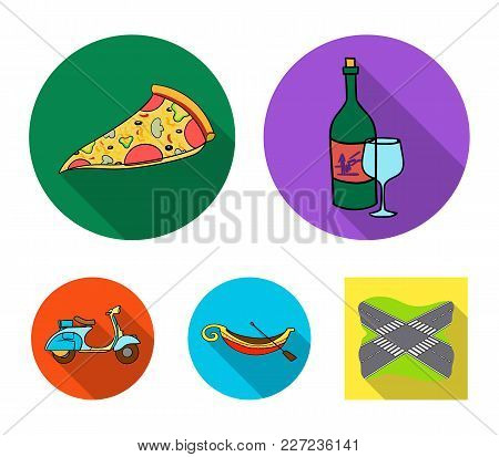 A Bottle Of Wine, A Piece Of Pizza, A Gundola, A Scooter. Italy Set Collection Icons In Flat Style V