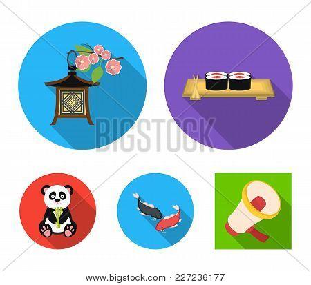 Sushi, Koi Fish, Japanese Lantern, Panda.japan Set Collection Icons In Flat Style Vector Symbol Stoc