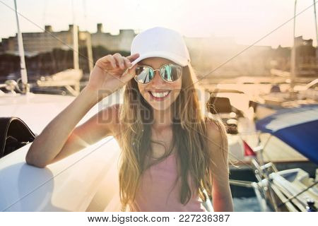 Smiling sporty girl