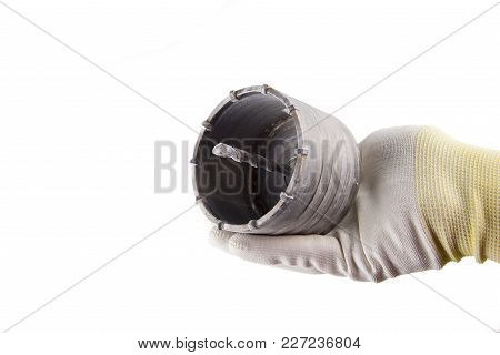 Steel Alloy Jackbit In The Hand In Glove On The White Background Isolated. Suitable For Any Purpose