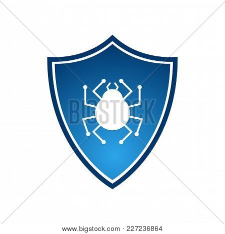 Isolated Blue Shield With Virus Vector Logotype. Firewall Logo On White Background
