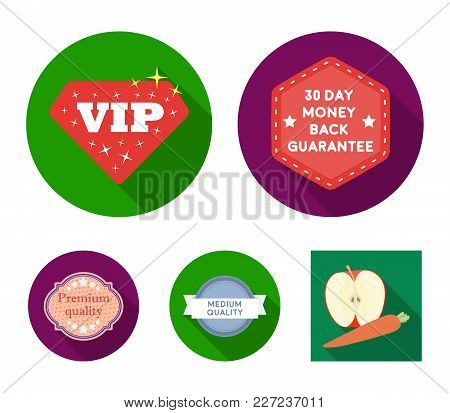Money Back Guarantee, Vip, Medium Quality, Premium Quality.label, Set Collection Icons In Flat Style