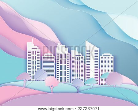 White Paper Skyscrapers And Trees. Achitectural Building In Panoramic View. Modern City Skyline Buil