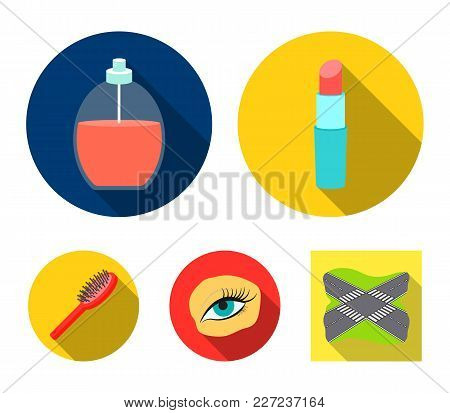 Mascara On Eyelashes, Lipstick, Perfume, Hairbrush.makeup Set Collection Icons In Flat Style Vector