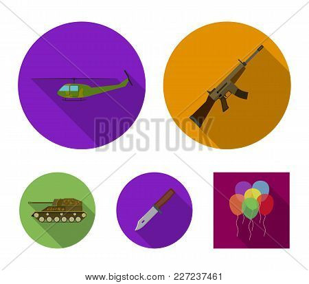 Assault Rifle M16, Helicopter, Tank, Combat Knife. Military And Army Set Collection Icons In Flat St