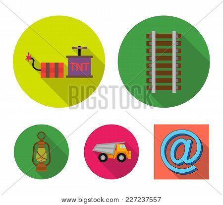 Ryllsy, Vzryvchatka, Dumper, Lantern.mine Set Collection Icons In Flat Style Vector Symbol Stock Ill