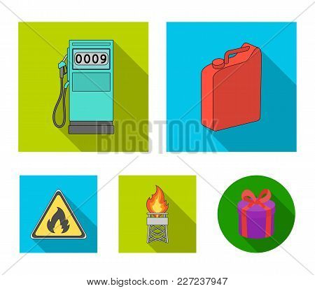 Canister For Gasoline, Gas Station, Tower, Warning Sign. Oil Set Collection Icons In Flat Style Vect