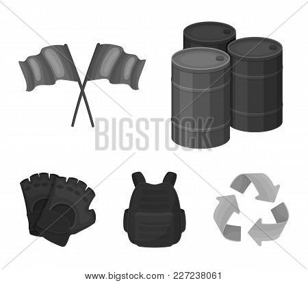 Protective Vest, Gloves And Other Equipment. Paintball Single Icon In Monochrome Style Vector Symbol