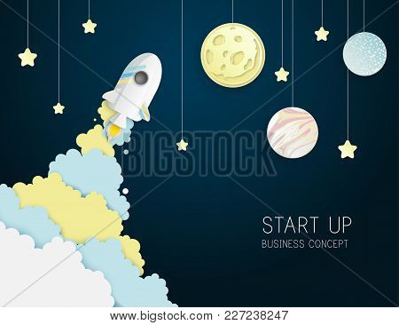Paper Art Of Space Shuttle Launch To The Sky. Night Sky, Shining Stars, Moon, Planets, Fluffy Clouds