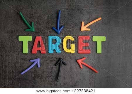 Business Aiming Target Plan For Success Concept, Multi Colorful Magnet Arrows Pointing At Wooden Let