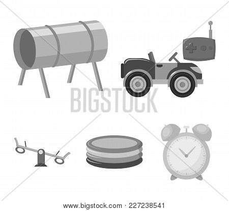 Machine For Radio Control, Tunnel, Trampoline, Swing. Playground Set Collection Icons In Monochrome