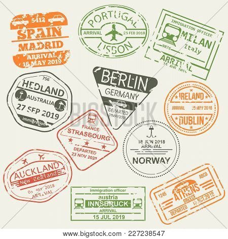 Set Of Isolated Visa Passport Stamps Of Arriving To Spain, Portugal, Italy, Australia, Germany, Irel