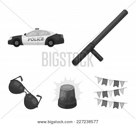 Police Baton, Auto, Flasher, Glasses.police Set Collection Icons In Monochrome Style Vector Symbol S