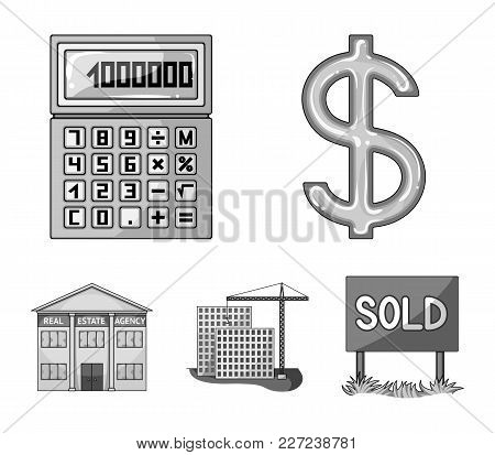 Calculator, Dollar Sign, New Building, Real Estate Offices. Realtor Set Collection Icons In Monochro