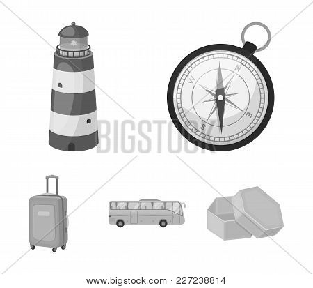 Vacation, Travel, Lighthouse, Compass .rest And Travel Set Collection Icons In Monochrome Style Vect