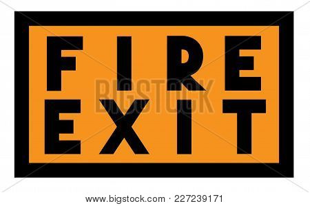 Fire Exit Stamp. Typographic Label, Stamp Or Logo