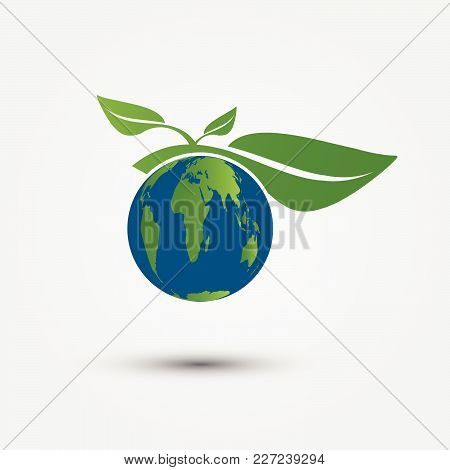 Earth Symbol With Green Leaves Around.ecology.green Cities Help The World With Eco-friendly Concept