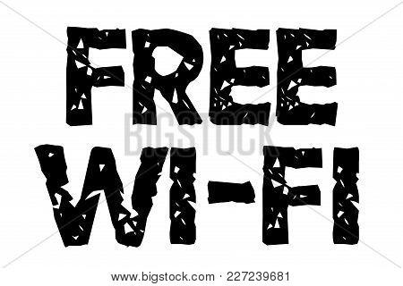 Free Wi-fi Stamp. Typographic Sign, Stamp Or Logo.