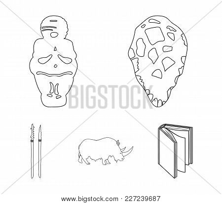 Primitive, Woman, Man, Cattle .stone Age Set Collection Icons In Outline Style Vector Symbol Stock I
