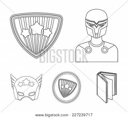 Man, Mask, Cloak, And Other  Icon In Outline Style.costume, Superman, Superforce, Icons In Set Colle