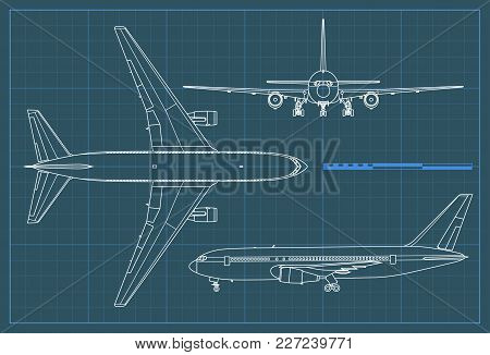 Industrial Blueprint Of Airplane. Vector Outline Drawing Plane On A Blue Background. Top, Side And F