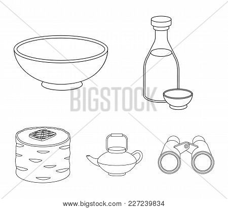 Soy Sauce, Noodles, Kettle.rolls.sushi Set Collection Icons In Monochrome Style Vector Symbol Stock
