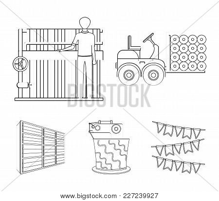 Equipment, Machine, Forklift And Other  Icon In Outline Style.textiles, Industry, Tissue, Icons In S