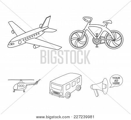 Bicycle, Airplane, Bus, Helicopter Types Of Transport. Transport Set Collection Icons In Outline Sty