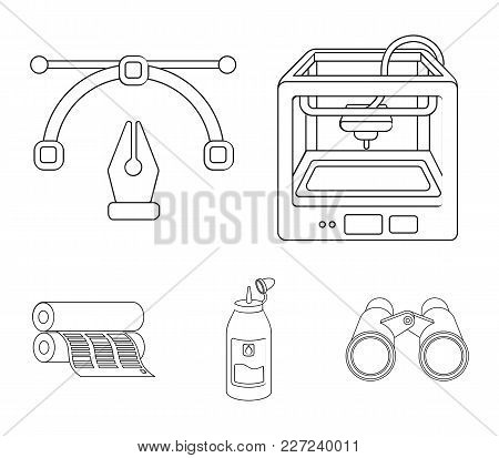 3d Printer, Newspaper Printer, Ink, Pen. Typography Set Collection Icons In Outline Style Vector Sym