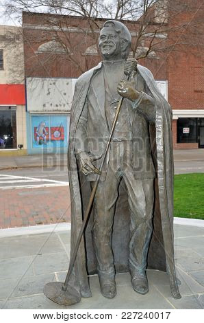 AUGUSTA, GA - FEBRUARY 18, 2018 A statue of James Brown, funk and soul singer who called Augusta home,  stands on Broad Street.