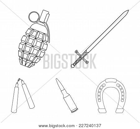 Sword, Hand Grenade, Cartridge, Nunchaki. Weapons Set Collection Icons In Outline Style Vector Symbo