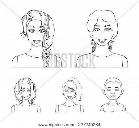 Types Of Female Hairstyles Outline Icons In Set Collection For Design. Appearance Of A Woman Vector