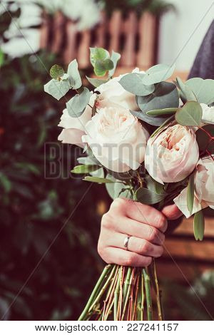 Pink Roses In Brides Flower Bouquet Fow Wedding Made By Florist