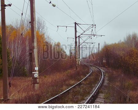 Abandoned Railway In The Chernobyl Exclusion Zone In Autumn