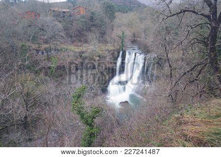 Waterfall Of Penaladros In Cozuela, Burgos, Spain.